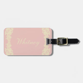 You Choose Background Color & beige lace Luggage Tag
