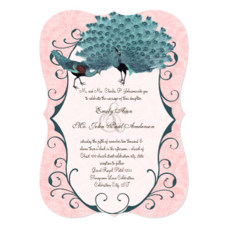 You Choose Background Color -Damask Peacock 5x7 Paper Invitation Card