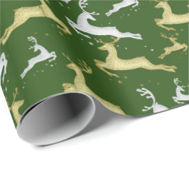 YOU CHOOSE BACKGROUND COLOR Silver and Gold Deer Wrapping Paper