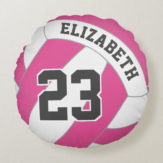 YOU choose color name number girls' volleyball Round Pillow