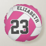 "YOU choose color name number women&#39;s volleyball Round Pillow<br><div class=""desc"">The color of the the non-white panels on this women&#39;s volleyball throw pillow is up to you! Customize this vball pillow with her favorite color (currently hot pink) plus her name and jersey number for a unique and personal volleyball decor gift that she&#39;ll love - by katz_d_zynes - click the...</div>"