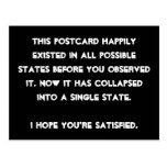 You collapsed it! Quantum Physics Humor Postcard