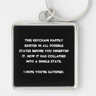 You collapsed it! Quantum Physics Humor Silver-Colored Square Keychain