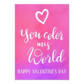 You Color My World  | Handwritten Valentines Day Card