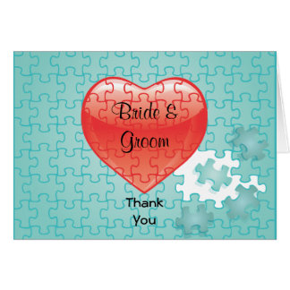You complete me jigsaw puzzle Thank You Note Card