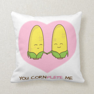 You complete me sweet loving corn couple throw pillow