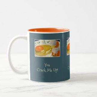 You Crack Me Up! Cracked Eggs: Original Painting Two-Tone Coffee Mug