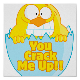 you crack me up funny cracked chick bird poster
