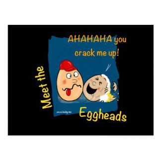 You crack me up, funny eggheads cartoon postcards
