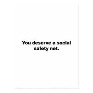 You deserve a social safety net postcard