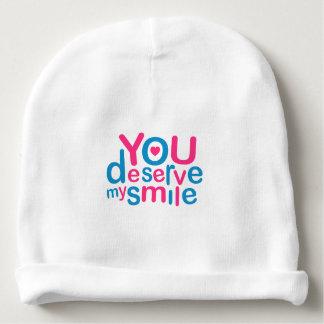 You Deserve My Smile Typographic Design Love Quote Baby Beanie