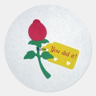You did it! classic round sticker