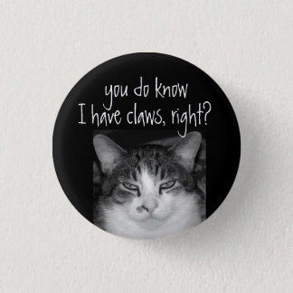 """""""You do Know I have Claws, RIght?Crabby Cat Magnet Button"""