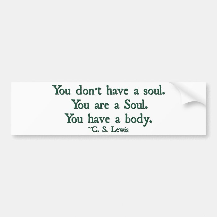 You don't have a soul, you are a soul bumper sticker