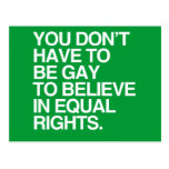 YOU DON'T HAVE TO BE GAY TO BELIEVE IN EQUAL RIGHT POST CARD