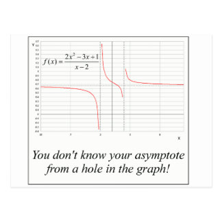 You don't know your asymptote... postcards