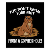 YOU DON'T KNOW YOUR BUTT FROM A GOPHER HOLE funny Poster