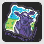You Eat What? Cow Square Stickers