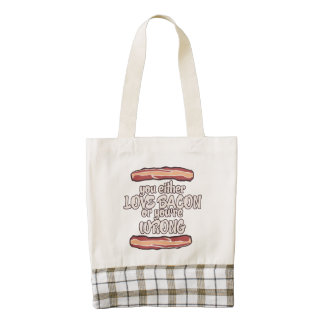 You either love bacon or you're wrong zazzle HEART tote bag