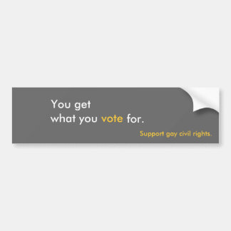 You get, what you, vote, for., Support gay civi... Bumper Sticker