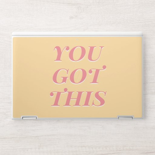 You got this modern quote yellow peach HP laptop skin