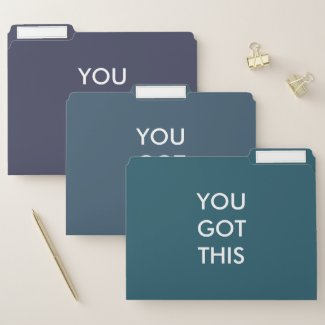 You Got This Motivational Quote Blue Green Purple File Folder