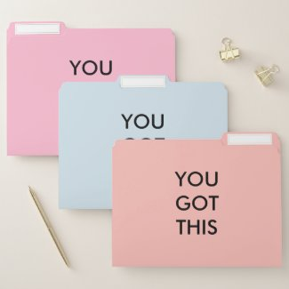 You Got This Motivational Quote Coral Blue Pink File Folder