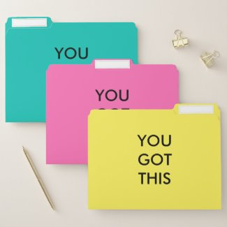 You Got This Motivational Quote Yellow Pink Teal File Folder