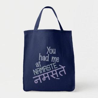 You Had Me at Namaste bags