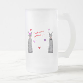 You Had Me At Woof Doberman Pinscher Black Frosted Glass Beer Mug