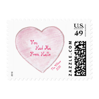 You Had me From Hello Paper Heart Postage Stamp