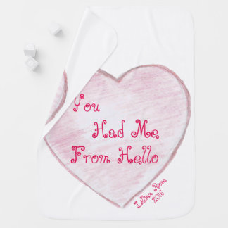 You Had me From Hello Paper Heart Stroller Blanket
