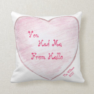 You Had me From Hello Paper Heart Throw Pillow