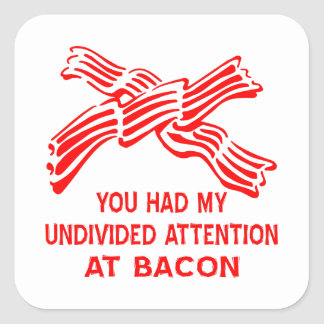 You Had My Undivided Attention At Bacon Square Sticker