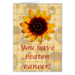 You have beaten cancer! Cancer support pink ribbon Greeting Card