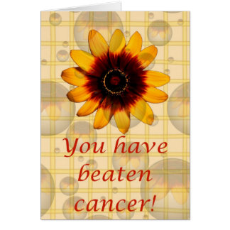 You have beaten cancer! Cancer support pink ribbon Card