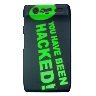You have been hacked sign on LCD Screen Motorola Droid RAZR Cover