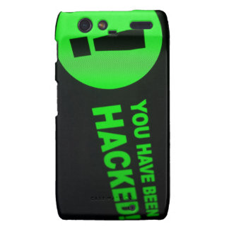 You have been hacked sign on LCD Screen Motorola Droid RAZR Case
