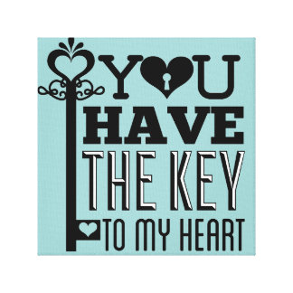 You Have the Key to My Heart Blue Wrapped Canvas