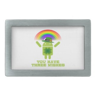 You Have Three Wishes (Android Bugdroid Rainbow) Belt Buckle