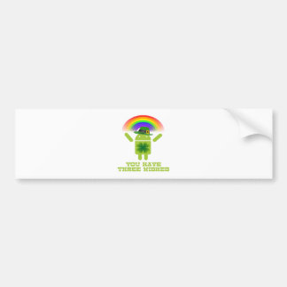 You Have Three Wishes (Android Bugdroid Rainbow) Car Bumper Sticker
