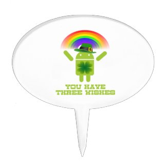 You Have Three Wishes (Android Bugdroid Rainbow) Cake Picks