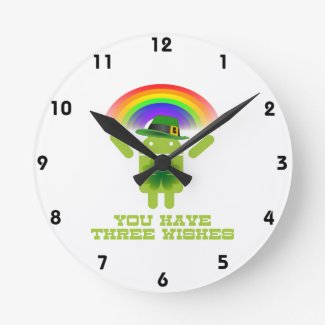 You Have Three Wishes (Android Bugdroid Rainbow) Clock