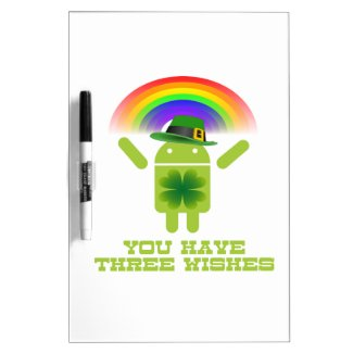 You Have Three Wishes (Android Bugdroid Rainbow) Dry Erase Whiteboards