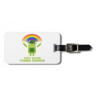 You Have Three Wishes (Android Bugdroid Rainbow) Travel Bag Tags