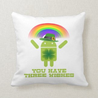 You Have Three Wishes (Android Bugdroid Rainbow) Throw Pillows