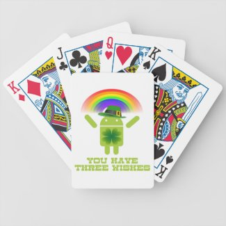 You Have Three Wishes (Android Bugdroid Rainbow) Bicycle Card Deck