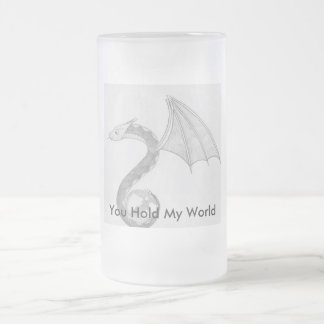 You Hold My World Frosted Glass Beer Mug