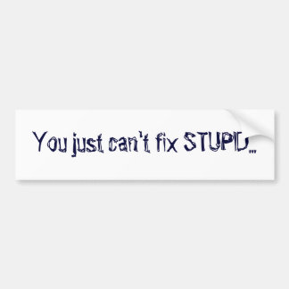 You just can't fix STUPID... Bumper Stickers