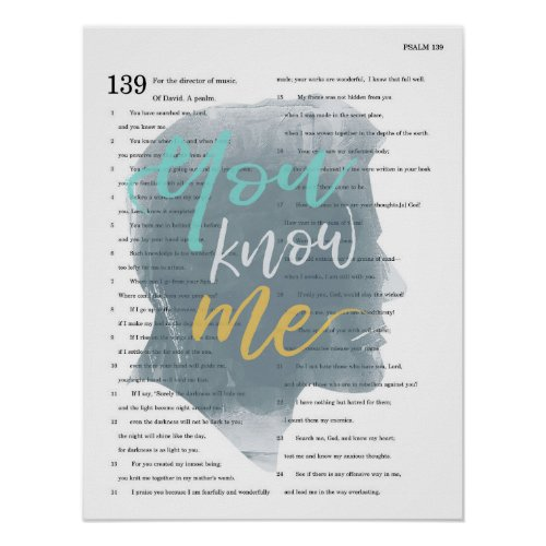 You Know Me Psalm 139 Male Silhouette Poster